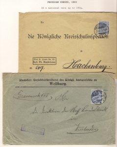 Deutschland PRUSSIA 1903 FREI durch Ablösung Two Covers WIESBADEN WEILBURG