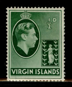 BRITISH VIRGIN ISLANDS GVI SG110, ½d green, M MINT. CHALKY