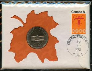 CANADA 1973  UNCIRCULATED $1  COIN  THE CENTENARY OF PRINCE ED ISLE ON COVER