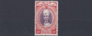 MALAYA  KELANTAN 1937 - 40  S G 49  30C  VALUE  MH   HINGED TWICE
