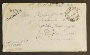 1942 India London England British 2nd Infantry Field Post WWII Censorship Cover