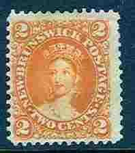 New Brunswick # 7  2c Victoria 1863  No Gum (1) Unused