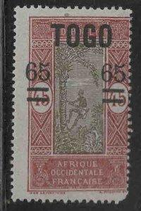 TOGO Scott 214 MH* Dahomey overprint surcharged stamp