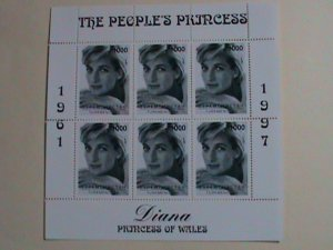 TURKMENISTAN  STAMP: 1997- PRINCE DIANA RARE BLACK & WHITE PHOTOS-MINT NH S/S
