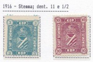 1916 Poland / Polen / Poland/Polska Sosnowice, N°1/2 MNH / Pre-inked Mikulski-J