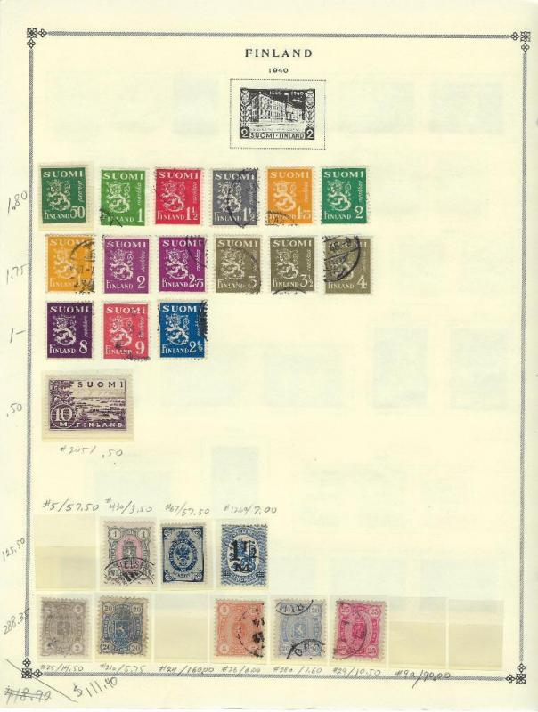 Earlier Finland Scott Page With Stamps - Clear Mounts - 10% Of Cat - (s52)