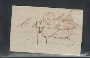 France Stampless Folded Letter Envers Antwerp to Marseille France