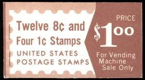 US #1395b COMPLETE BOOK with 95% PLATE NUMBERS 32908 / 32909, 50% 1278a  VF m...