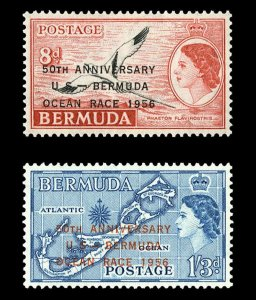 BERMUDA - 1956 - QE II - YACHT RACE - NEWPORT - MAP + OVPT - MINT - MNH SET!