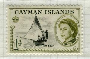 CAYMAN ISLANDS; 1962 early QEII pictorial issue fine Mint hinged 1d. value