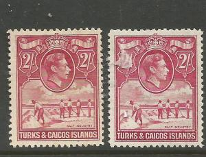 Turks & Caicos KGVI 2/- SG 203, 203a MOG (1cqw)