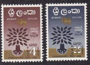 Ceylon # 360-361, World Refugee Year, Hinged, 1/3 Cat.