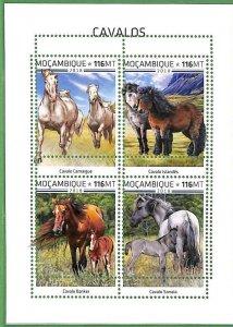 A2257 - MOZAMBIQUE - ERROR: MISPERF, Miniature sheet - 2018, Horses, Camargue