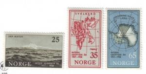 Norway Sc 355-7 1957 Geophysical Year stamps NH