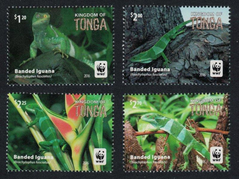 Tonga MNH 1290-3 Banded Iguana Reptiles WWF 2016
