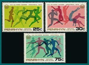 Penrhyn Island 1976 Olympic Games, MNH #81-83,SG93-SG95