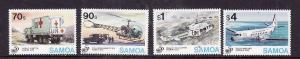 Samoa-Sc#900-3-Unused NH set-Planes-UN 50th-Red Cross-1995-