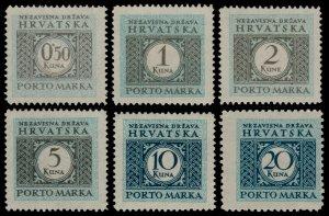 ✔️ CROATIA 1942 - POSTAGE DUE - PERF L11½ - SC. J20/J25 ** MNH OG [CRP011]