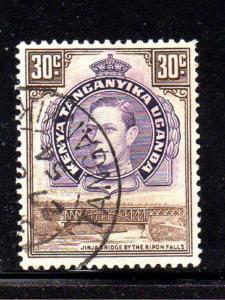 KENYA, UGANDA, TANZANIA #76  1942  30c KING GEORGE VI & LION   F-VF USED