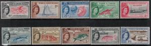 Turks and Caicos SC 121-135 MNH 1957-1960 SCV$ 112.65 Set