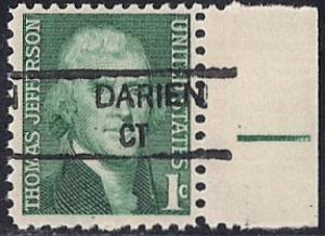 #1278 1 cent Thomas  Precancel Rare Tagging mint OG NH VF