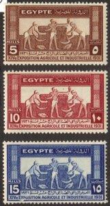 Egypt #163-65 MH cpl 1931 expo