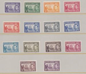 ST HELENA  1938 - 44  S G 131 - 140  SET OF 14 MH CAT £140