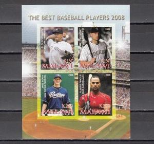 Malawi, 2008 Cinderella issue. Best Baseball Players, IMPERF sheet of 4.