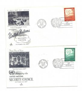UN NY #55-56  3c + 8c United Nations Security Council ArtCraft FDCs