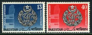 Pakistan 155-156, MNH. Centenary of the Police Force. Police Crest, 1961