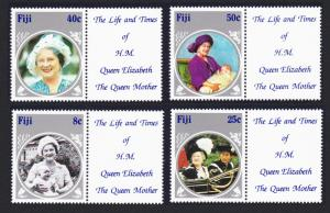 Fiji Life and Times of Queen Mother 4v with labels SG#701-704 SC#531-534