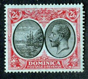 Dominica 1923 KGV. 2/6d black & red/blue. Mint. LH. SG85.