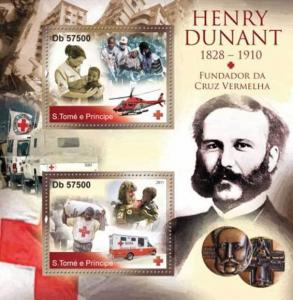 Withdrew 02-13-19-St Thomas - Red Cross & Henri Dunant - 2 Stamp Sheet ST11301a