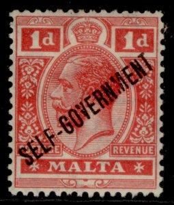 MALTA GV SG116, 1d scarlet, M MINT.