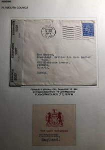 1944 Plymouth England Commercial Censored Cover To Windsor Canada Perfin Stamp
