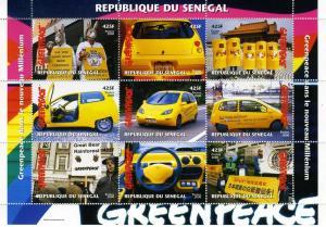 Senegal 2000 CAR RENAULT TWINGO Greenpeace Sheet Perforated MInt (NH)