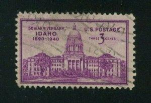 US 1940 3c bright mauve Idaho Statehood, Scott 896 used,  Value = 25c