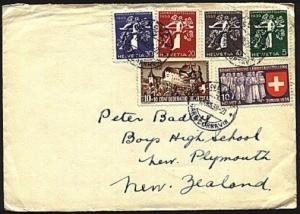 SWITZERLAND 1939 cover to New Zealand - nice franking......................93488