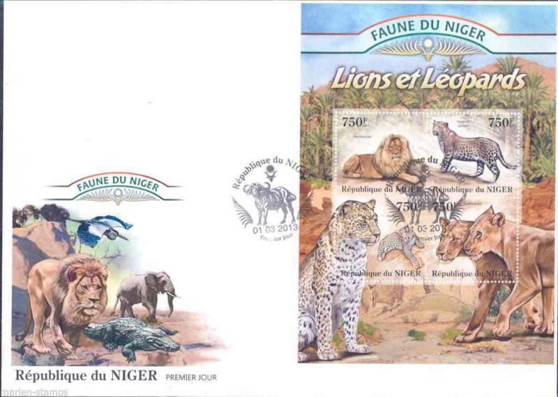 FAUNE OF NIGER 2013 LIONS AND LEOPARDS SHEET  FIRST DAY COVER