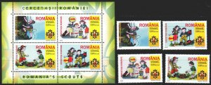 Romania. 2005. 5943-46, bl 357. Scouts. MNH.
