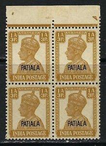 INDIA PATIALA 106 MNH BLOCK OF 4 C916
