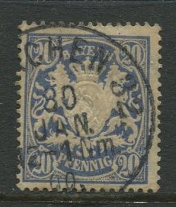Bavaria -Scott 64 - Coat of Arms -1888 -  Used - Single 20pf Stamp