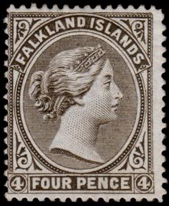Falkland Islands Scott 8 (1886) Mint H F-VF, CV $525.00 B