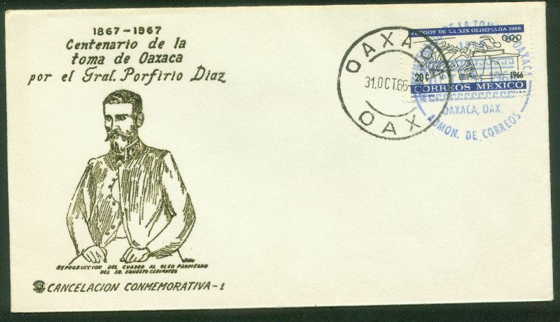 MEXICO 974, CENTENARY TAKING OF OAXACA, COMMEM POSTMARK CVR VF. (81)