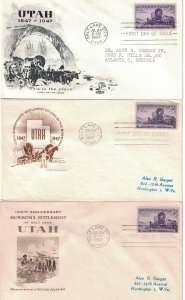 #950 FDC, 3c Utah Centennial, 3 diff. cachets