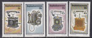 Bophuthatswana # 125-128, Antique Telephones, NH, 1/2 Cat.
