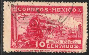 MEXICO Q3, 10¢ PARCEL POST. STEAM ENGINE. USED. F-VF (965)