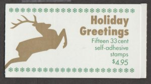U.S. Scott #3363-3367a-3367c BK276B Christmas Reindeer Stamp - Mint NH Booklet