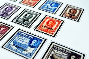 COLOR PRINTED SOMALILAND 1903-1960 STAMP ALBUM PAGES (10 illustrated pages)