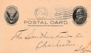 United States South Carolina Jacksonboro 1905 doane 2/3  Postal Card  Overstr...